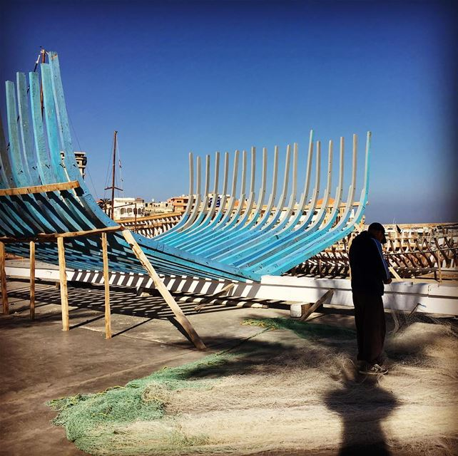 Net working at Tyre's old port fisherman streetphotography sea port ... (Tyre, Lebanon)