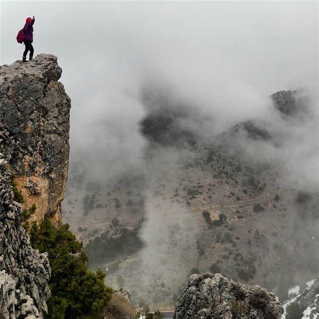 Standing on the edge peoplewhohike topview topmountain hiking ...