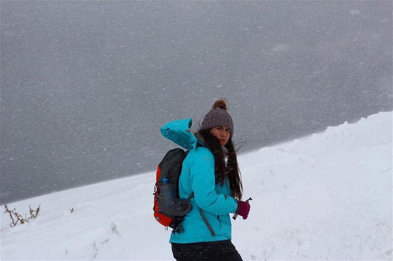 snowing amazing peaceful mountain hikergirl uphigh wildadventure ... (Falougha, Mont-Liban, Lebanon)