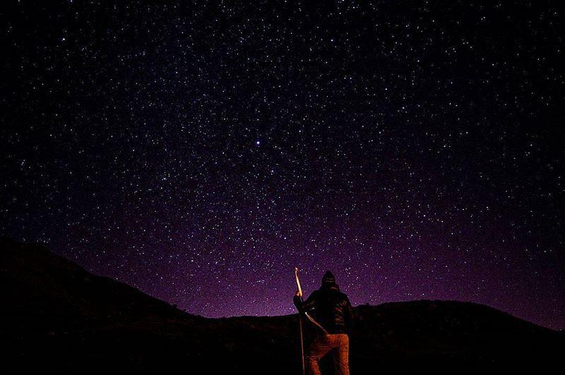 stargazing startrails stars moon sky night nighthike nightphoto nightpic... (Sanine Mountains)