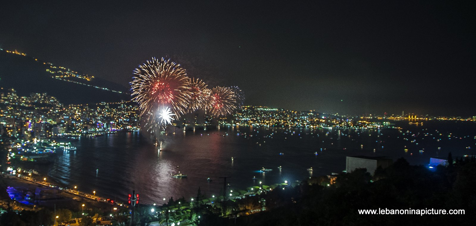 Jounieh Fireworks 2017 - Red, Gold and Blue